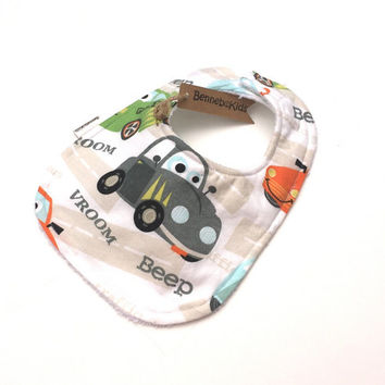 Boys Car Bib - Toddler Boy Bib - Newborn Boy - Boy Baby Bibs - Baby Shower Gift - Baby's First Bib - Infant Bibs - Baby Bib - Baby Bibs
