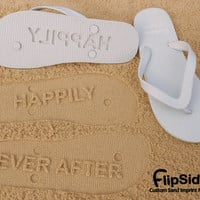 Happily Ever After - Sand Imprint Bridal Flip Flops