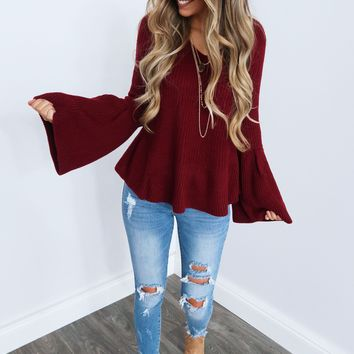 So Much To See Sweater: Burgundy