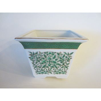 AFC Hong Kong Green Porcelain Signature Planter Hand Decorated Gilt Flowers