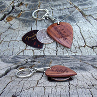 Amazon Rosewood Big Guitar Pick - Handmade Laser Engraved 2 Sided Design - Novelty Size Key Ring