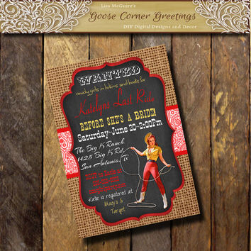 Western PINUP Girl Bachelorette Party invitation Paisley Burlap Chalkboard Red Yellow Birthday invite Cowgirl invitation Western pinup