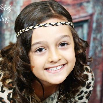 Taupe and Black Bohemian Style Braid Headband