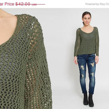 50% OFF SALE 1990's Green Crochet Sweater - Vintage 90s Mesh Olive Festival Cotton Indie Blouse Grunge Tunic Sheer Cropped Hippie Slouchy To