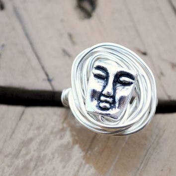 Wire Wrapped Ring Silver Face Bead