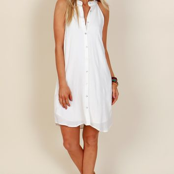 Positive Perspective Button Dress Off White
