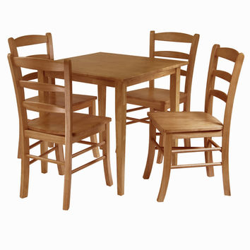 Appealing Square Wooden Groveland Dining Table with Four Chairs by Winsome Woods