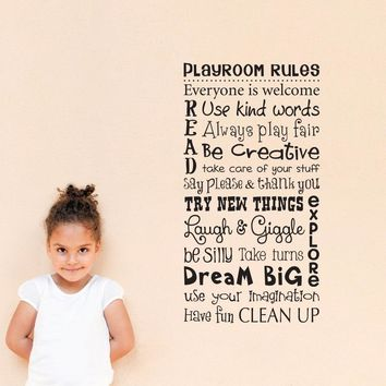 Play Room Rules Wall Decal - Children Wall Decal Art - Vertical Medium