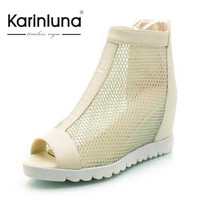 Fashionable Women's Ankle Boots Peep Toe High Heels Inner High After Zipper Summer Boots Wedge Sandals Platform Female Shoes