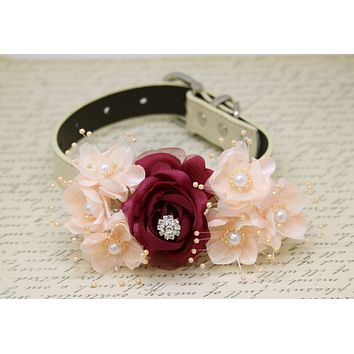 Burgundy Peach Wedding Dog Collar, Floral with pearls and Rhinestone wedding
