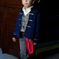 Pirate Boy Costume Blue or Red Jacket, Vest, Pants for play, Christmas Gift or Disney adventure