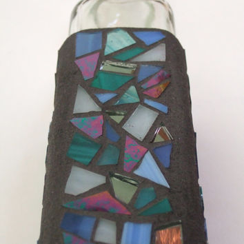 Mosaic Tall and Tapered Decorative Square Glass Bottle with Cork Stopper (Blue Color Scheme), Handmade Stained Glass Mosaic Design