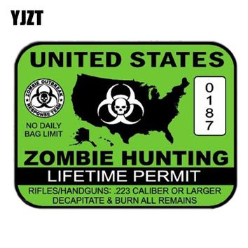 YJZT 13.6CM* 10.2CM UNITED STATES ZOMBIE HUNTING PERMIT Lnterest Reflective Car Sticker Motorcycle Parts C1-7179