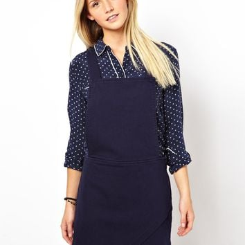 ASOS Denim Envelope Hem Pinafore Dress in Navy