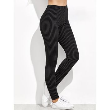 Vertical Striped High Waist Leggings