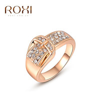 ROXI Brand Free Shipping Gift Rose Gold Plated Statement Wintersweet Wedding Gold Belt Zircon Stones Ring Fashion Jewelry