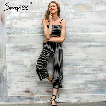 Simplee -Black & White Striped Straight Crop Romper