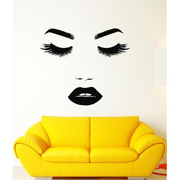 Vinyl Wall Decal Beautiful Girl Face Makeup Eyelashes Lips Stickers (3195ig)