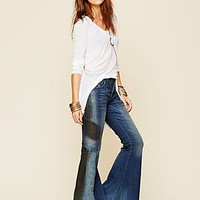 Free People Womens Contrast Pieced Flare - Mermaid Wash, 26