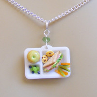 Food Jewelry Cafeteria Lunch Miniature Food Necklace Pendant - Miniature Food Jewellery,Handmade Jewelry Necklace,Mini Food Jewelry