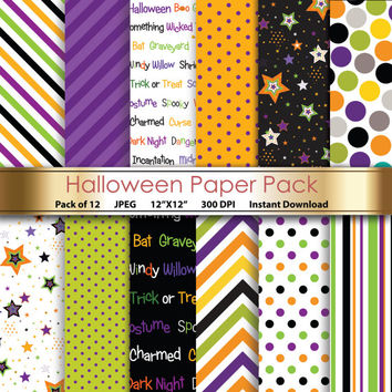 Digital Paper: Halloween Paper Pack Scrapbooking & Papercrafting - Printable Designs Chevrons Stars - Orange Green Purple - Pack of 12