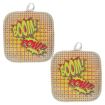 Boom Pow Vintage Comic Book All Over Pot Holder (Set of 2)