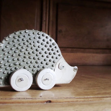 Ceramic Hedgehog on Wheels for Your Home - Home Decor