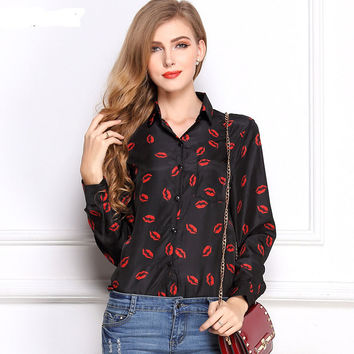 Long Sleeve Women's Blouses&Shirts Kiss Red Lip Print Casual Tops Loose Plus Size Lady Button Leopard Blusas