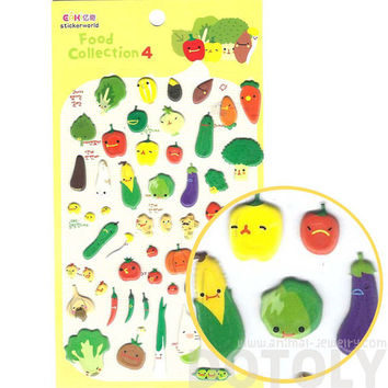 Super Cute Vegetable Broccoli Carrot Corn Shaped Puffy Stickers for Scrapbooking | Cute Food Themed Scrapbook Decorating Supplies
