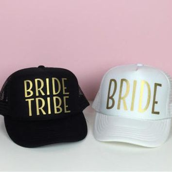 BRIDE TRIBE - Women's Mesh Cute, Graphic, Cool Baseball Cap With Gold Print - Bride Squad Hat