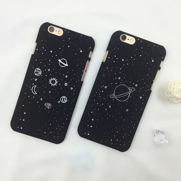 """Cartoon Planet Moon Sun Stars Airship Phone Cases For iphone 6 Case Universe Series Hard Cover For iphone 6 6S 7 7Plus 4.7""""/5.5"""