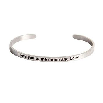 MMTTAO Stainless Steel Inspirational Charm Bracelets Personalized Jewelry Engraved Message Motivational Cuff Bangles for Women Girls