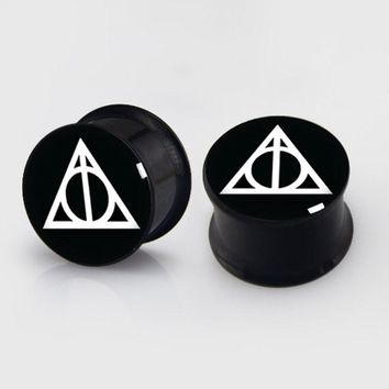 2 pieces Deathly Hallows plugs anodized black ear plug gauges steel flesh tunnel body piercing jewelry 1 pair