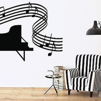 Wall Sticker Vinyl Decal Music Room Piano Full Fcore Sheet (n166)