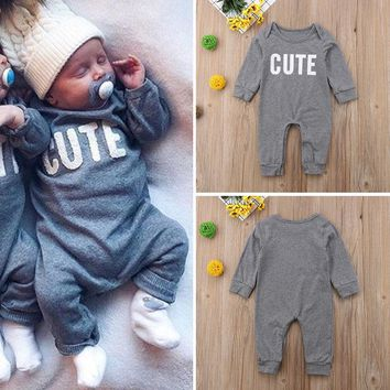 Cute Newborn Baby Boy Girl Long Sleeve Romper Bodysuit Jumpsuit Outfits Clothes