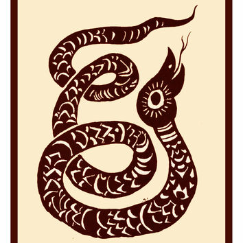 Russian Folk Art Snake by Issachar Ber Ryback's Counted Cross Stitch or Counted Needlepoint Pattern