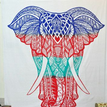 Three Color Tone Elephant Bohemian Boho Wall Beach Bed Tapestry