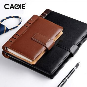 CAGIE 2016 Business Vintage Daily Memos Notebook Pu Leather A6/A5/B5 Spiral Composition Book Diary Planner Organizer Agenda