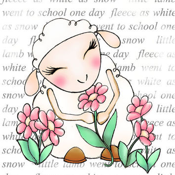 Nursery art baby lamb pink flowers kids wall art by wonderlaneart