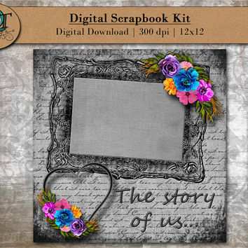 Digital Scrapbook Kit for online scrapbooking -The story of us- Wedding - Valentines Day - 12x12 - 300 dpi - Digital Download