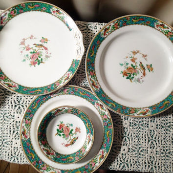 W H Grindley Braintree, Bird of Paradise, China  66 piece dinnerware set from the 1920s, Colorful, Fanciful, Art Nouveau