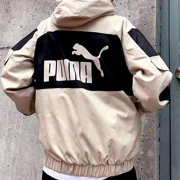 Free shipping-PUMA autumn new contrast color printing jacket sports casual jacket Khaki
