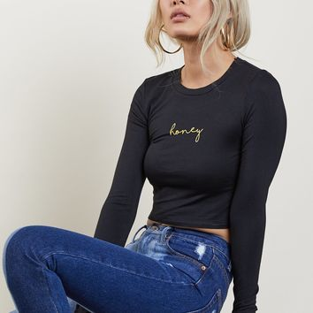 Honey Long Sleeve Crop Top