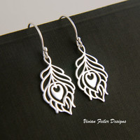 Peacock Feather Jewelry Earrings Sterling Silver - Vivian Feiler Designs | Wedding Jewelry | Bridal