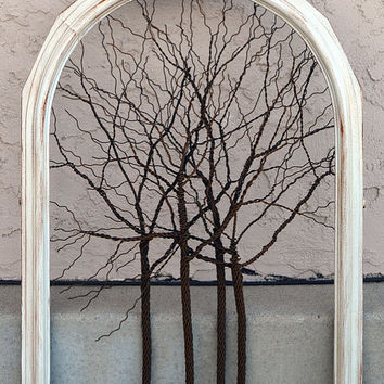 Amy Giacomelli Painting Original Large Tree Abstract Sculpture ... Wire trees on vintage white shabby style salvaged frame