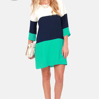 LULUS Exclusive Citrus Grove Blue Color Block Shift Dress