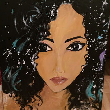 "Custom Acrylic Painting Galaxy inspired Portrait, titled: ""Meteora"""
