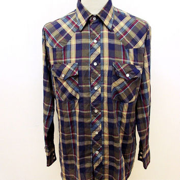 Retro Plainsman Western Cowboy Shirt Large