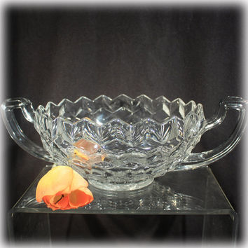 Fostoria American, Trophy Bowl, Cubist Bowl, Handled Centerpiece, Fruit Bowl, Mid Century Modern,