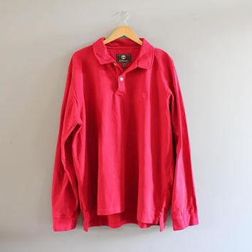 Timberland Polo Shirt Red Cotton Polo Button Up Long Sleeve Oversize Tee Minimalist Vi